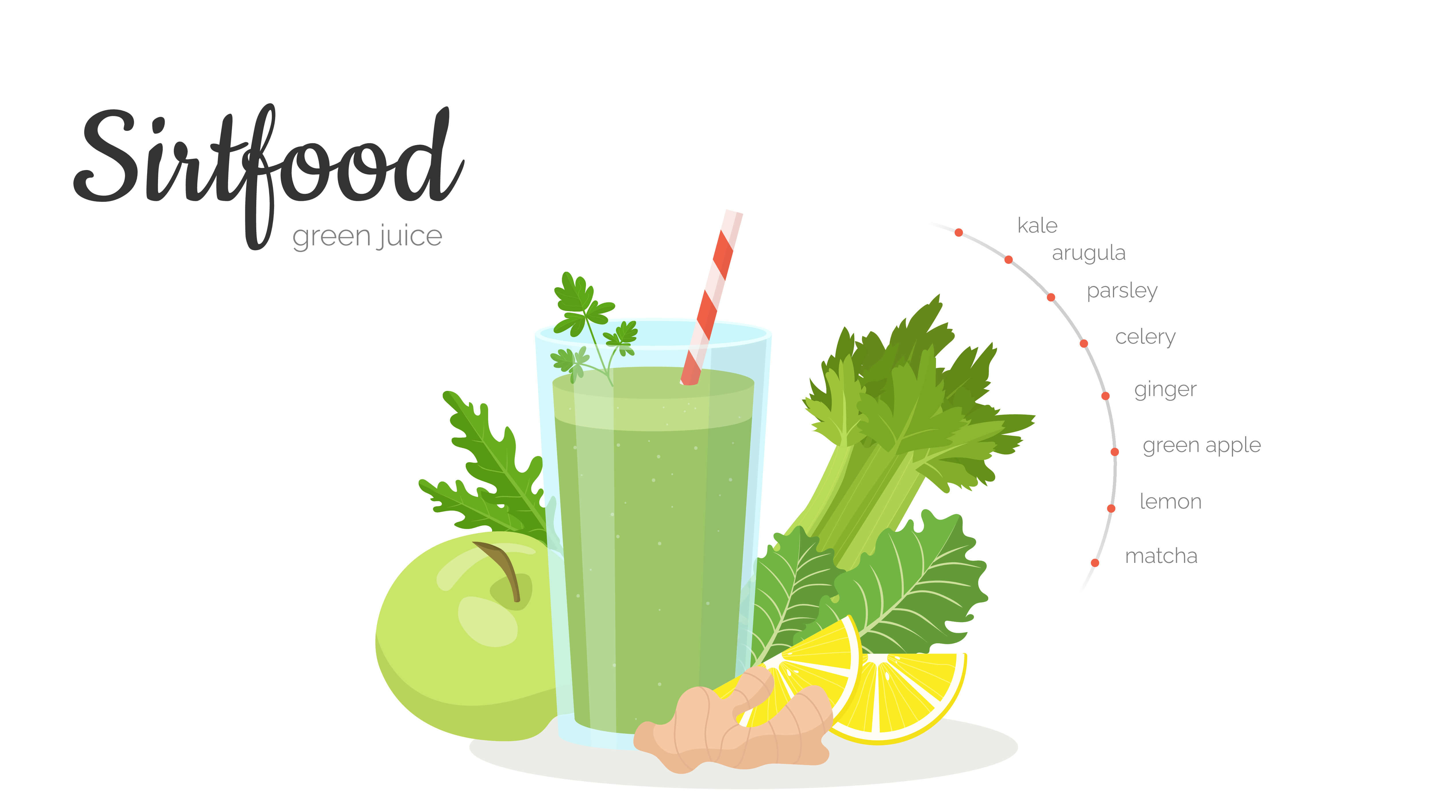 Illustration zeigt Green Healthy Smoothie, Sellerie, Apfel und Ingwer